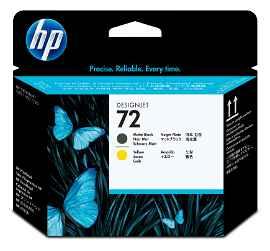 HP 72 - Amarillo, negro mate - cabezal de impresión - para DesignJet SD Pro MFP, T1100, T1120, T1200, T1300, T2300, T610, T620, T770, T790, T795