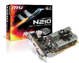 MSI N210-MD1G/D3 - Tarjeta gráfica - GF 210 - 1 GB GDDR3 - PCIe 2.0 x16 - DVI, D-Sub, HDMI